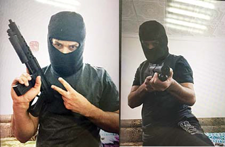 Pictures found by police on the non-Kuwaiti's cell phone.