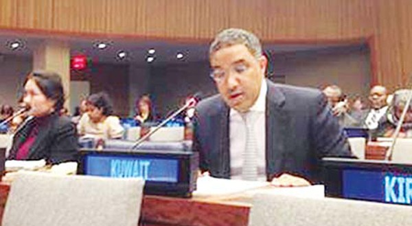 Kuwait's Deputy Permanent Representative to the UN Abdulaziz Al-Jarallah speaks during the meeting for UN General Assembly Committee for announcing donations