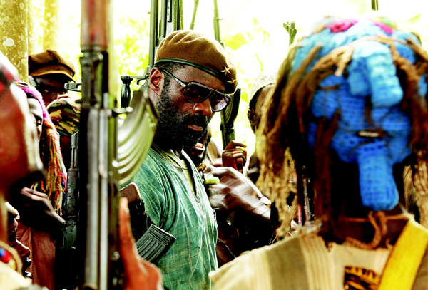 This photo provided by Netflix shows, Idris Elba, as Commandant, in the Netflix original film, 'Beasts of No Nation', directed by Cary Fukunaga. (AP)