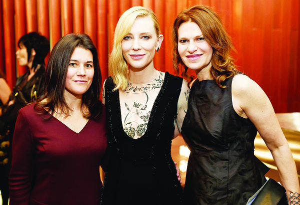 Left to right: Sara Switzer, Cate Blanchett, and Sandra Bernhard attend the reception for the premiere of 'Carol', during the 53rd New York Film Festival at Alice Tully Hall, Lincoln Center on Octr 9, in New York City. (AFP)