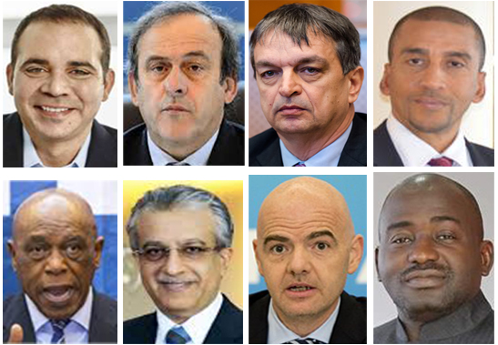 Eight Official FIFA Presidential Candidates - Prince Ali, Platini, Champagne, Nakhid, Sexwale, Sheikh Salman, Infantino and Bility