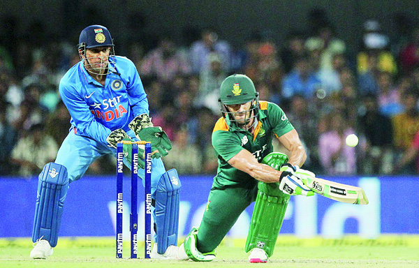 South Africa's Faf du Plessis plays a shot during their second One-Day International cricket match against India in Indore, India on Oct 14. (AP)