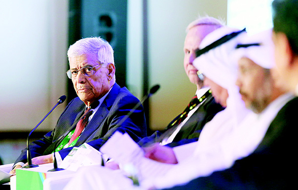 In this file photo, OPEC Secretary General Abdullah el-Badri delivers a speech during a conference as part of the Kuwait Oil and Gas show (KOGS 2015) in Kuwait City on Oct 11. Oil experts from OPEC and non-member countries discussed the risk that low oil prices would reduce investment in new supplies but agreed no concrete steps on boosting the market. (AFP)
