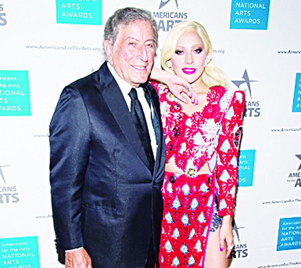 Tony Bennett and Lady Gaga attend the Americans for the Arts 2015 National Arts Awards at Cipriani 42nd Street on Oct 19, in New York. (AP)