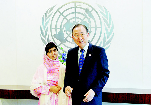 Pakistani student Malala Yousafzai (left), with United Nations Secretary-General Ban Ki-moon on July 12, 2013 at UN headquarters in New York. Malala was the name on everyone's lips in October 2015 at the London Film Festival where a documentary about the yougest-ever Nobel Peace laureate had its European premiere. 'He Named Me Malala' is an intimate portrait of Malala Yousafzai, the passionate Pakistani advocate of girls' education who survived a brutal Taleban gun attack in 20012. (AFP)