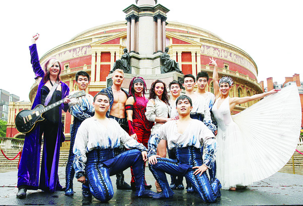 Cirque du Soleil performers pose for photographs during a photo call in front of the Royal Albert Hall ahead of the show's 20th anniversary, on Oct 5. The Cirque du Soleil show, Amaluna, opens at the venue on Jan 16, 2016 and features a predominately female cast and all-female band. (AP)