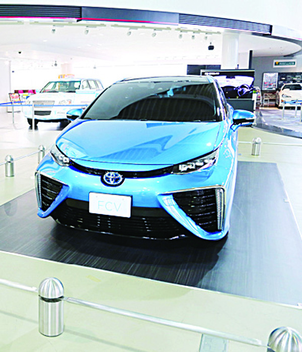In this file photo, Toyota Motor Corp's new fuel cell vehicle (FCV) is on display at a Toyota showroom in Tokyo. (AP)