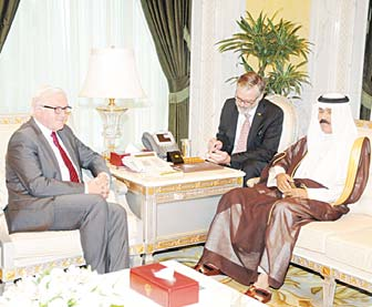 HH the Deputy Amir and Crown Prince with the German foreign minister at the Seif Palace