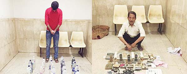 (Left): The Asian with liquor bottles, and (right) the man held for providing illegal int'l cal