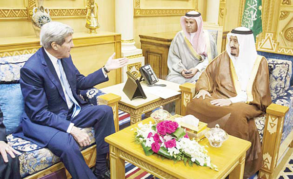 US Secretary of State John Kerry (left) speaks with Saudi King Salman bin Abdulaziz al-Saud (right), during a meeting at Diriya Farm, on Oct 24. Kerry announced that Israel and Jordan had agreed on new measures covering Jerusalem's flashpoint Al-Aqsa Mosque compound, including 24-hour security cameras. (AFP)