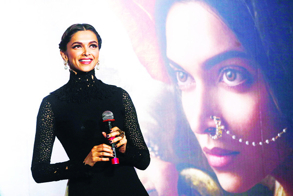 Bollywood actress Deepika Padukone speaks during a trailer launch of her movie 'Bajirao Mastani' in Mumbai, India, on Nov 20. The film is scheduled to be released on Dec 18. (AP)