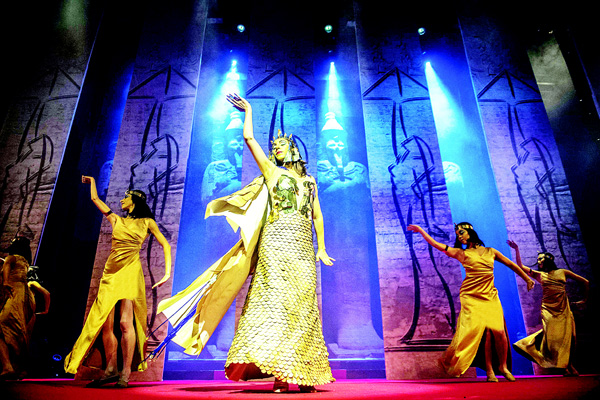 Dancers dressed in the Egyptian pharaohs perform on the stage during the closing ceremony of the 37th Cairo International Film Festival in Cairo on Nov 20. (AFP)