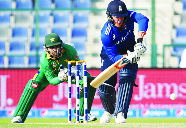 England's Jason Roy plays a shot during the second One Day International (ODI) cricket match between Pakistan and England at The Zayed Cricket Stadium in the Gulf Emirate of Abu Dhabi on Nov 13. (AFP)
