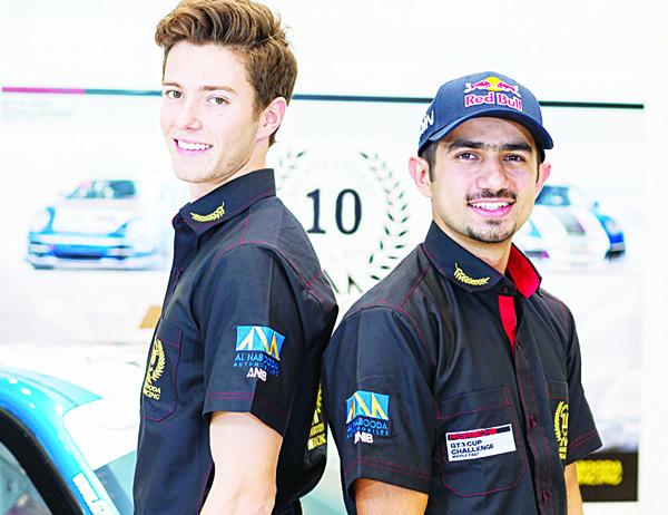 Zaid Ashkanani (right), with new Al-Nabooda Racing team-mate Jeffrey Schmidt.