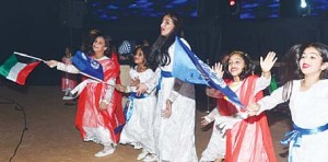 Young Kuwaiti girls performing at the Kuwait Club for the Disabled as part of celebrations to mark the Solidarity Day with Disabled