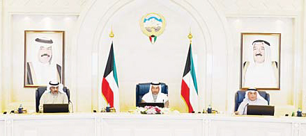 His Highness the Prime Minister Sheikh Jaber Al-Mubarak Al-Sabah (center) chairs the weekly Cabinet meeting
