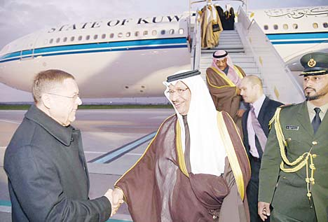 HH the Amir's representative to Paris conference on climate change HH the Premier Sheikh Jaber Al-Mubarak Al-Hamad Al-Sabah is received by senior officials upon arrival at the airport in France