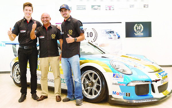 Jeffrey Schmidt, Al Nabooda racing team manager Vijay Rao and Zaid Ashkanani.