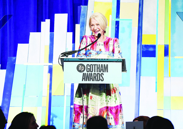 Actress Helen Mirren speaks onstage during the 25th Annual Gotham Independent Film Awards at Cipriani Wall Street on Nov 30.