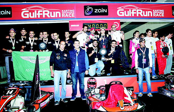 Winners of Gulf Run 24 HR Karting on podium