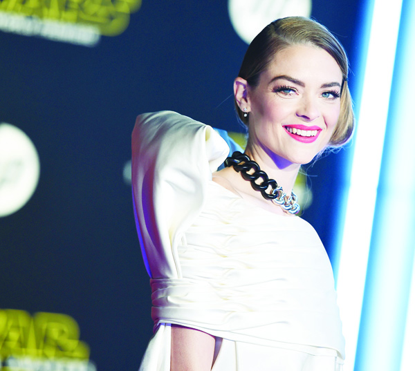 Jaime King arrives at the world premiere of 'Star Wars: The Force Awakens' at the TCL Chinese Theatre on Dec 14, in Los Angeles. (AP)
