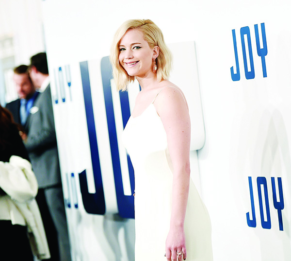 Actress Jennifer Lawrence attends the world premiere of 'Joy' at the Ziegfeld Theatre on Dec 13, in New York. (AP)