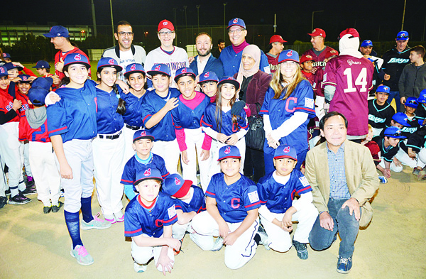 Photo taken during the opening ceremony of Kuwait Baseball and Softball Challenger Little League winter season.