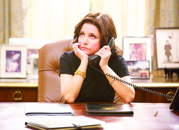 In this image released by HBO, Julia Louis-Dreyfus appears in a scene from 'VEEP.' The series was nominated for a Golden Globe Award for best television comedy on Dec 10. The 73rd Annual Golden Globes will be held on Jan 10, 2016. (AP)