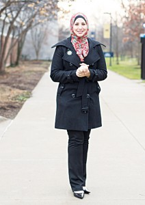 Suehaila Amen, coordinator of International Admissions and Recruitment at the University of Michigan Dearborn, is seen on campus on Dec 10, in Dearborn, Michigan. Amid the high level of harassment, threats and vandalism directed at American Muslims and at mosques, Muslim women are intensely debating the duty and risks related to wearing their head-cover ings as usual. (AP)