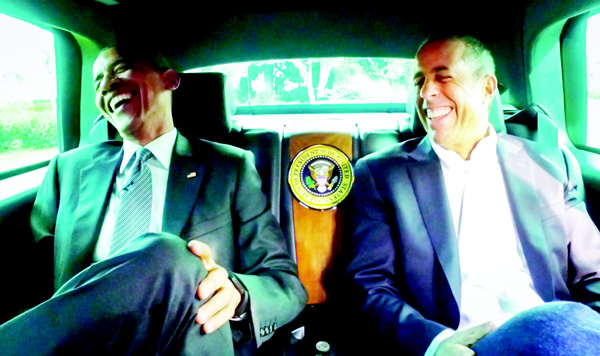 This framegrab image provided by Crackle and comediansincarsgettingcoffee.com, shows President Barack Obama with Jerry Seinfeld in a scene from a 'Comedians in Cars Getting Coffee.' (AP)