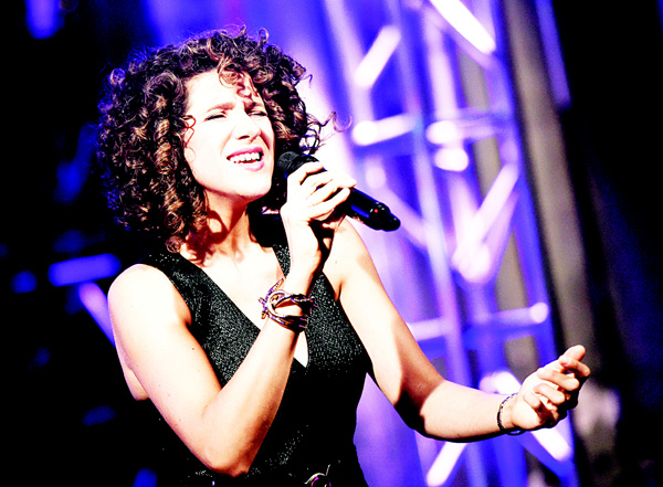French jazz singer Cyrille Aimee performs during an AOL BUILD Speaker Series to discuss her upcoming album, 'Let's Get Lost', at AOL Studios on Jan 14, in New York. (AP)