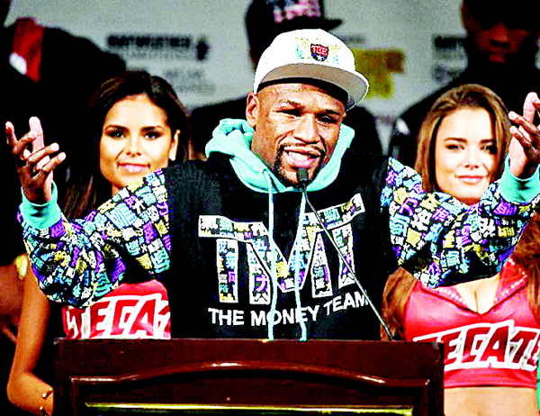 Floyd Mayweather Jr speaks during a post-fight news conference on Sept 12, 2015 in Las Vegas, Nevada. (AFP)