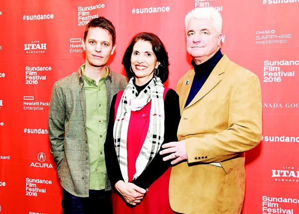 Diane Foley (center), and her husband John (right), parents of slain photojournalist James Foley, pose with 'Jim' director Brian Oakes at the premiere of the documentary film at the 2016 Sundance Film Festival on Jan 23, in Park City, Utah. (AP)