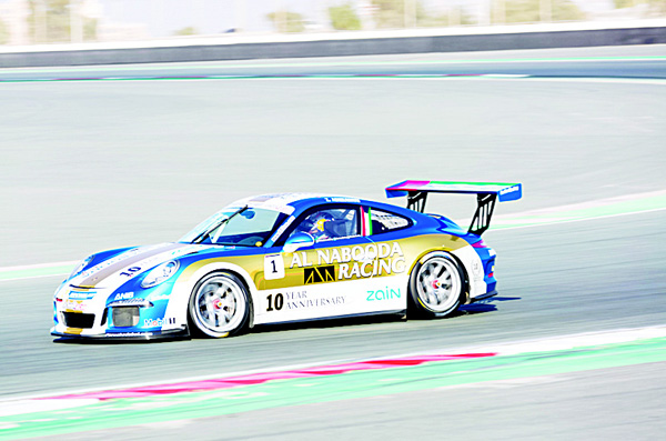 Kuwait's Zaid Ashkanani in action during the qualifying round of Porsche GT3 Cup in Dubai.