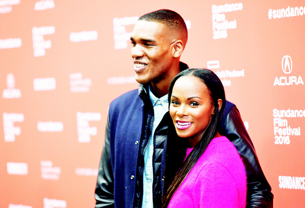 Parker Sawyers (left), and Tika Sumpter who play Barack Obama and Michelle Obama in 'Southside With You', pose together at the premiere of the film at the 2016 Sundance Film Festival on Jan 24,  in Park City, Utah.  (AP)