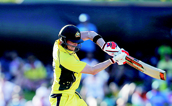 Australia's Steve Smith attempts to play a shot against India during the One Day International cricket match in Perth, Australia on Jan 12. (AP)