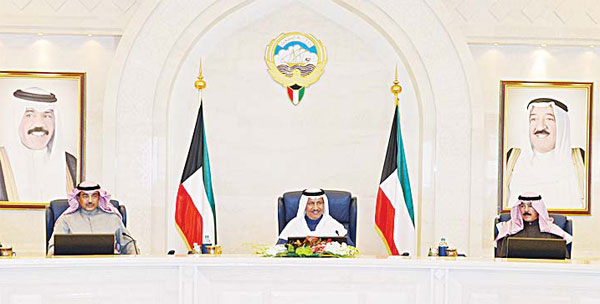 HH the PM Sheikh Jaber Al-Mubarak Al-Sabah chairs the weekly Cabinet meeting.