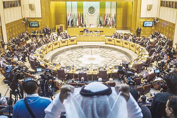 A general view shows Arab foreign ministers during an emergency meeting of Arab foreign ministers in the Egyptian capital Cairo on Jan 10. (AFP)