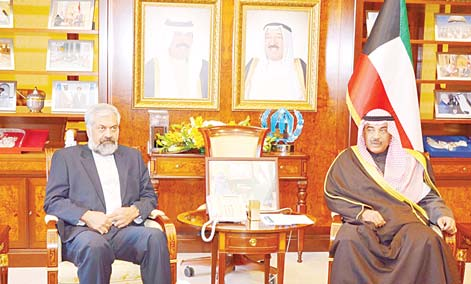Acting Prime Minister and Foreign Minister Sheikh Sabah Khaled Al-Hamad Al-Sabah meets Iranian First Deputy Foreign Minister Morteza Sarmadi.