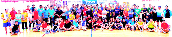 Participants of FBAA 39th Conference 12th Toyo Tires Badminton Cup pose for a group photo.