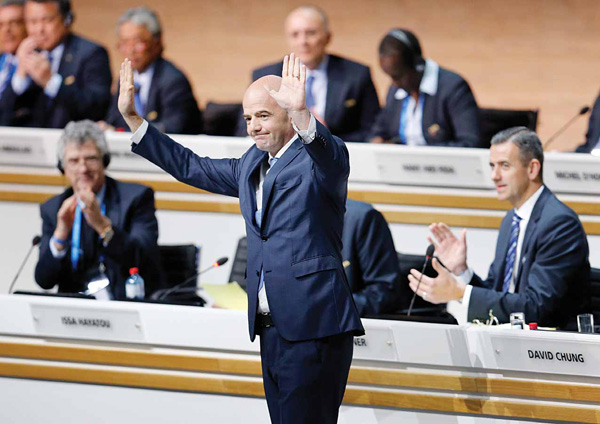 New elected FIFA president Gianni Infantino of Switzerland reacts during the extraordinary FIFA congress in Zurich, Germany on Feb 26. (AP)