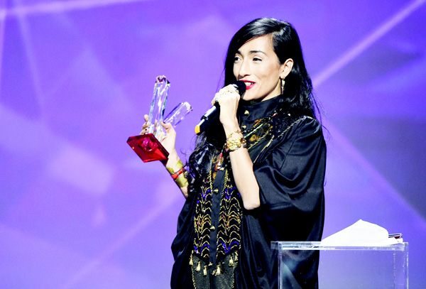 French-Moroccan singer Hindi Zahra speaks after receiving the best world music album award during the 31st Victoires de la Musique, the annual French music awards ceremony, on Feb 12, at the Zenith concert hall in Paris. (AFP)