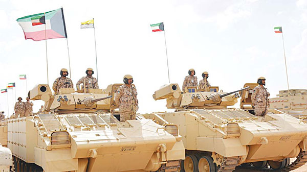 Photo shows Kuwaiti armed forces taking part in the 'Thunder of the North' military exercise in Saudi which began Saturday and involves ground, air and naval forces.