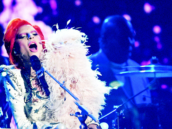 Lady Gaga performs onstage during the 58th Annual Grammy Music Awards in Los Angeles, on Feb 15. (AP)
