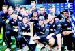New Zealand players celebrate winning the series after the third One-Day International cricket match between New Zealand and Australia at Seddon Park in Hamilton on Feb 8. (AFP)