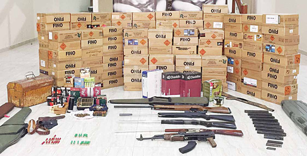 A large quantity of bullets and various types of rifles were found hidden in many stables in Ahmadi governorate.