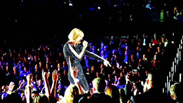 Singer Taylor Swift performs during the 58th Annual Grammy Music Awards in Los Angeles on Feb 15.