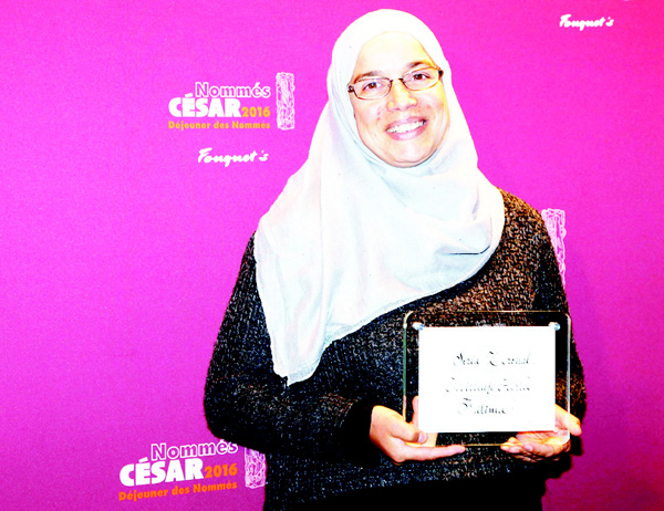 Algerian actress Soria Zeroual poses with her nomination certificate for Best Actress during the nominations event for the 2016 César Film Awards, on Feb 6, in Paris. The 41st Ceremony for the Cesar Film Award, considered as the highest film honour in  France, will take place on Feb 26. (AFP)