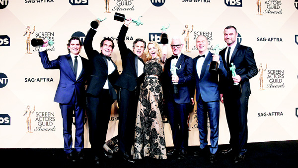 The cast of 'Spotlight' poses in the press room with the Actor for Outstanding Performance by a Cast in a Motion Picture at the 22nd Annual Screen Actors Guild Awards at The Shrine Auditorium on Jan 30, in Los Angeles, California. (AFP)
