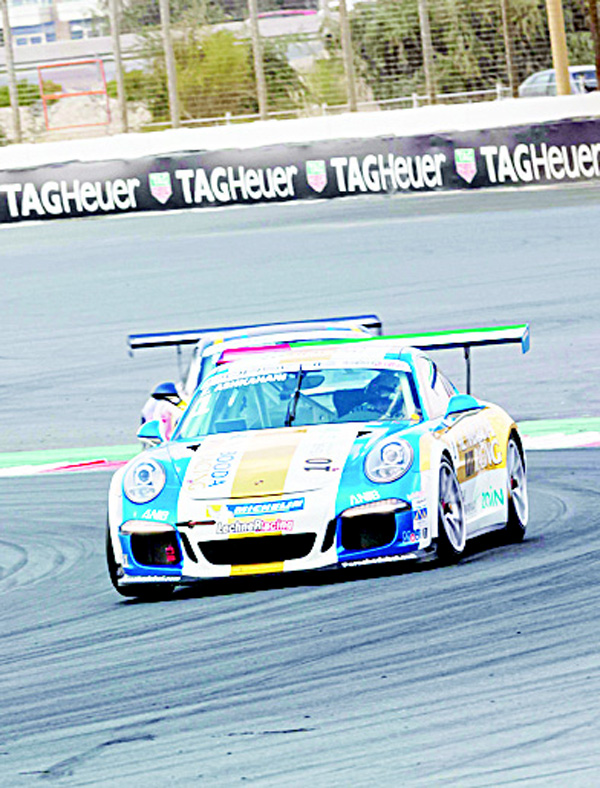 Zain Ashkanani in action during Race 2 of Round 4 of Porsche GT3 Cup in Dubai.